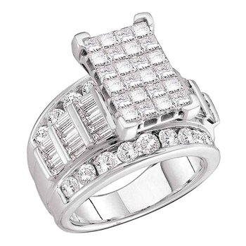10kt White Gold Womens Princess Diamond Cluster Bridal Wedding Engagement Ring 3.00 Cttw
