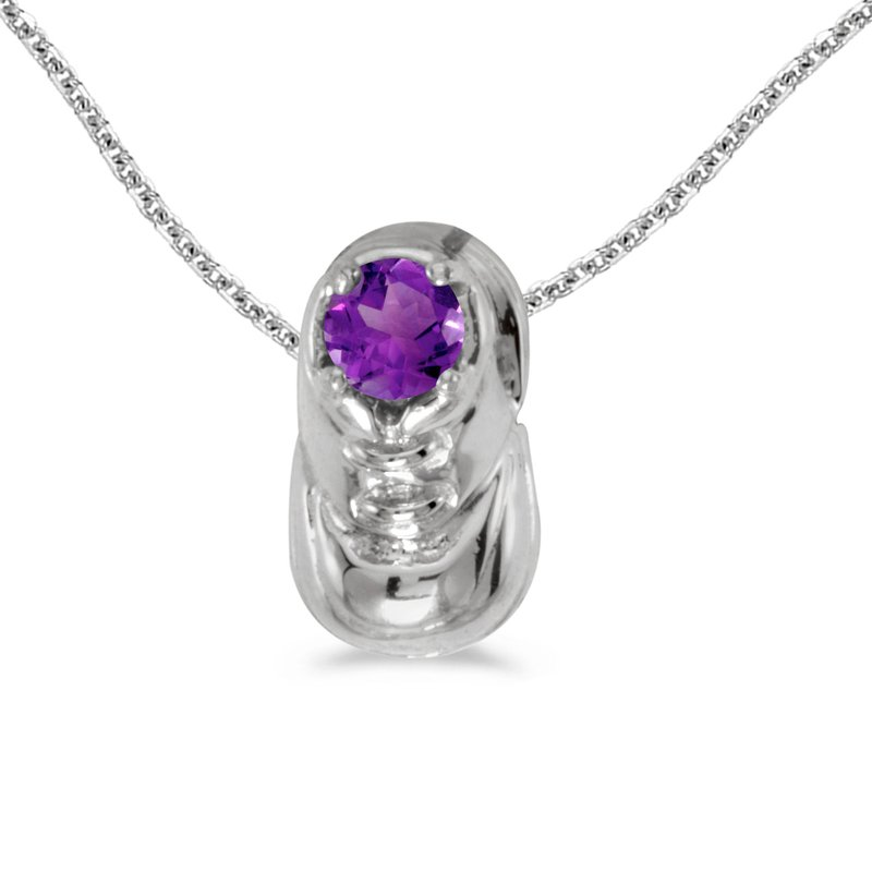 Color Merchants 10k White Gold Round Amethyst Baby Bootie Pendant