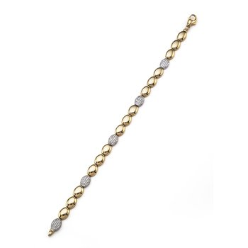Yellow Gold Pebble and Pave Diamond Bracelet
