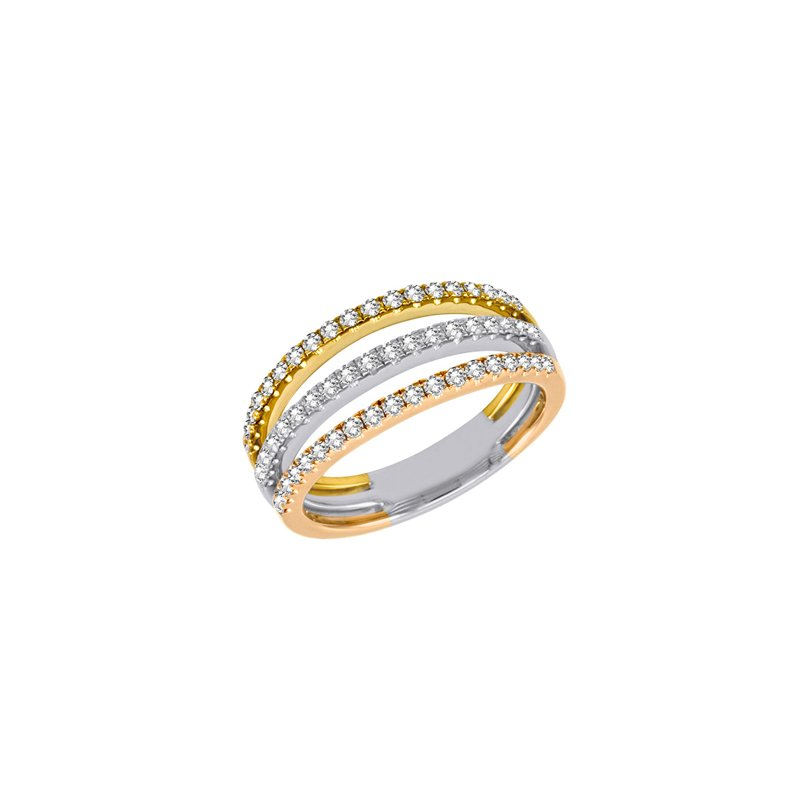 S. Kashi  & Sons White & Yellow & Rose Gold Fashion Ring