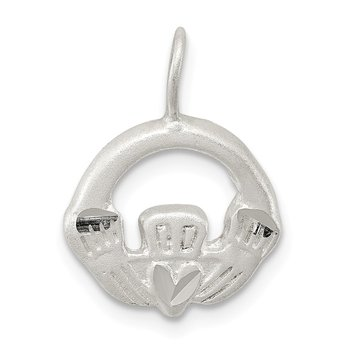 Sterling Silver Satin Claddagh Charm