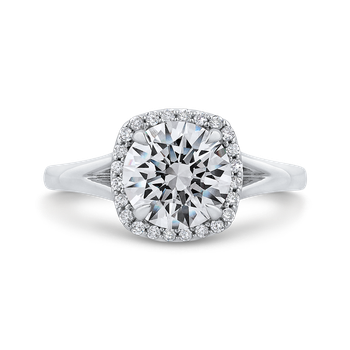 18K White Gold Round Cut Diamond Split Shank Halo Engagement Ring (Semi-Mount)
