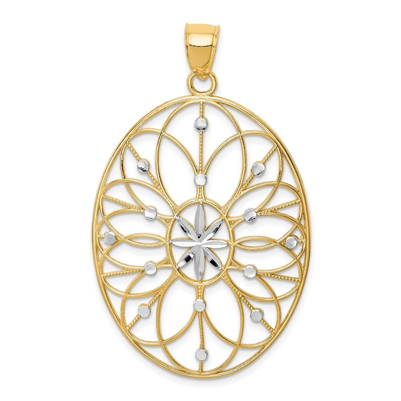 Quality Gold 14Kw/ Rhodium Floral Medallion Pendant