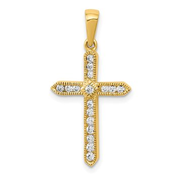 14k 1/4ct. Diamond Cross Pendant