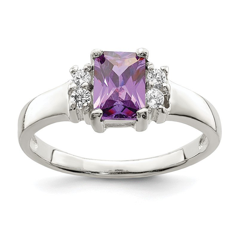 Quality Gold Sterling Silver Purple & White CZ Ring