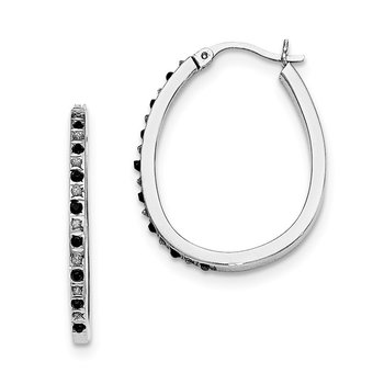 Sterling Silver Black & White Diamond Pear Hinged Hoop Earrings