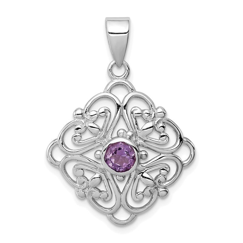 JC Sipe Essentials Sterling Silver Amethyst Pendant
