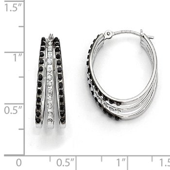 14k WG Diamond Fascination Black & W Diamond Triple Oval Hinged Hoop Ear