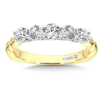 Diamond Wedding Band in 14K White and Yellow Gold