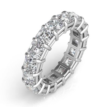 White Gold Asscher Cut Eternity Band