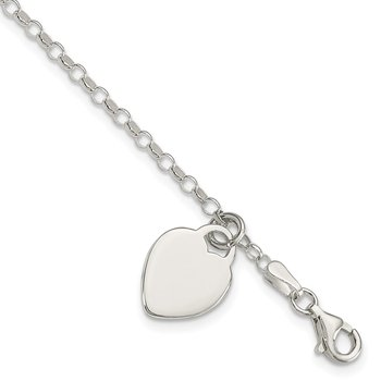 Sterling Silver Engraveable Heart 6 in Childs Bracelet