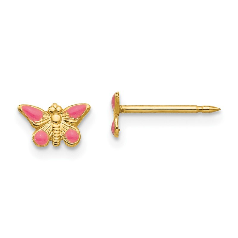 Quality Gold Inverness 14k Epoxy Fill Pink Butterfly Earrings