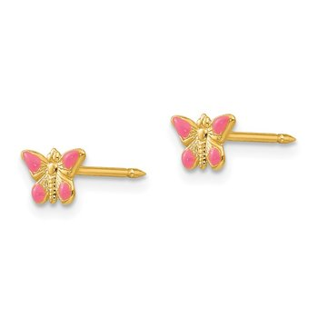 Inverness 14k Epoxy Fill Pink Butterfly Earrings