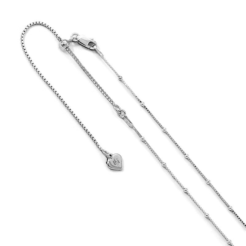 Leslie's Leslie's Sterling Silver 1.5 mm Beaded D/C Adjustable Box Chain
