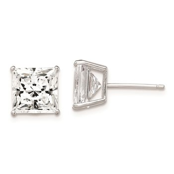 Sterling Silver Rhodium-plated CZ 8mm Square Post Earrings