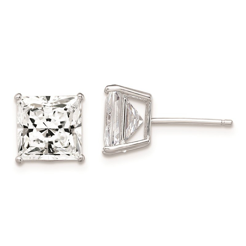 Quality Gold Sterling Silver Rhodium-plated CZ 8mm Square Post Earrings