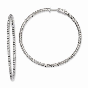 Sterling Silver Rhodium-plated CZ In and Out Round Hinged Hoop Earrings