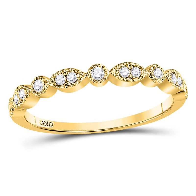 Kingdom Treasures 10kt Yellow Gold Womens Round Diamond Milgrain Stackable Band Ring 1/6 Cttw