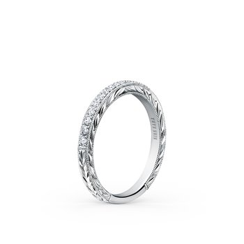 Glamorous Engraved Diamond Wedding Band