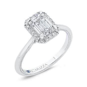 14K White Gold Emerald Cut Diamond Halo Engagement Ring (Semi-Mount)