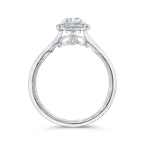 Carizza 14K White Gold Emerald Cut Diamond Halo Engagement Ring (Semi-Mount)