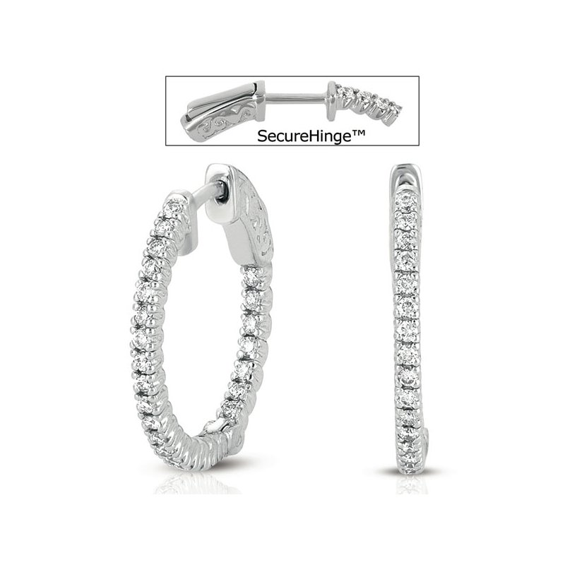 Briana White Gold 3/4 Securehinge Hoop Earring