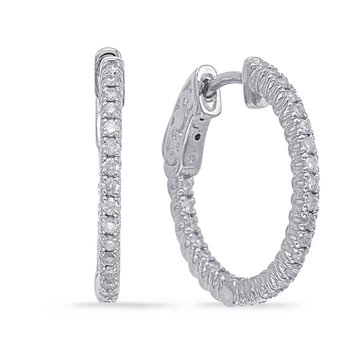 White Gold 3/4 Securehinge Hoop Earring