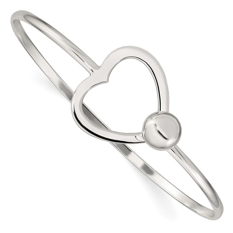 Quality Gold Sterling Silver Heart Bangle Bracelet