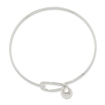 Sterling Silver Heart Bangle Bracelet
