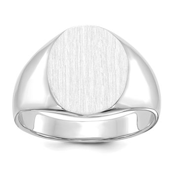 14k White Gold 13.0x15.5mm Open Back Signet Ring