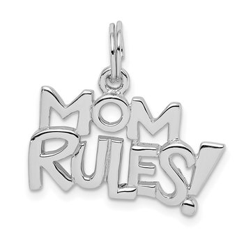 Sterling Silver Rhodium-plated MOM RULES! Pendant