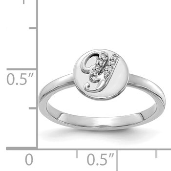 14k White Gold Diamond Initial Y Ring
