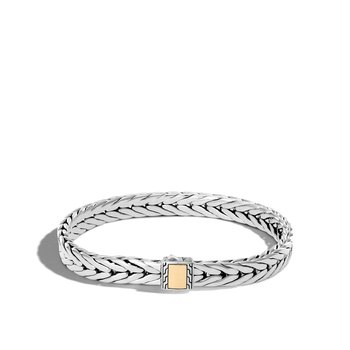 Modern Chain 9MM Bracelet in Silver and 18K Gold