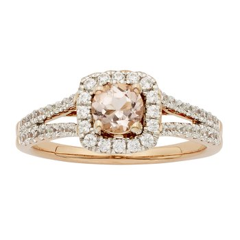 14k Rose Gold 1/2ct Morganite Center and 1/2ct TDW Diamond Engagement Ring