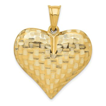 14K Polished Basket Weave Pattern 3-D Heart Pendant