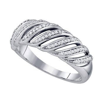 10kt White Gold Womens Round Diamond Band Ring 1/5 Cttw