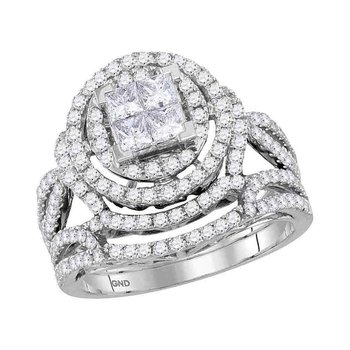 14kt White Gold Womens Princess Diamond Bridal Wedding Engagement Ring Band Set 1-5/8 Cttw