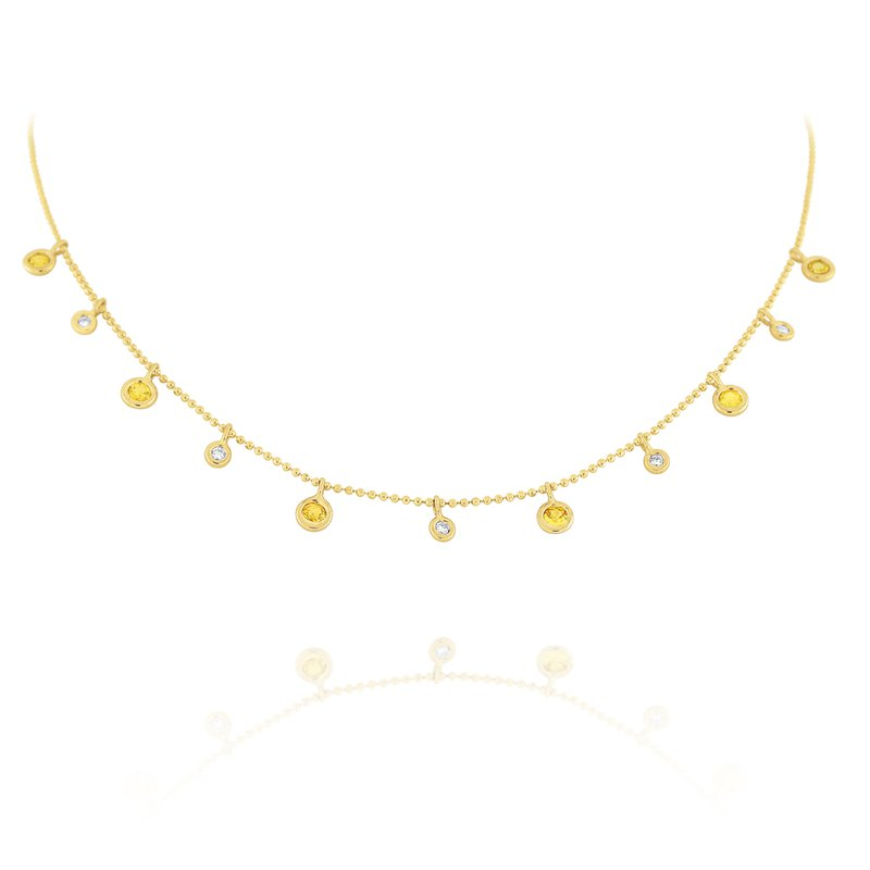 MAZZARESE Fashion Diamond & Yellow Sapphire Dew Drop Necklace Set in 14 Kt. Gold
