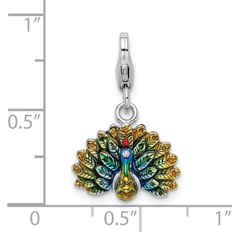 Arizona Diamond Center Collection Sterling Silver Amore La Vita Rhodium-pl Polished Enameled Peacock Charm