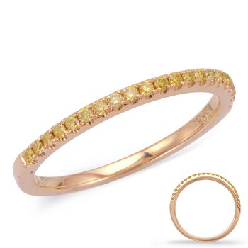 Rose Diamond Wedding Band  Yellow Gold
