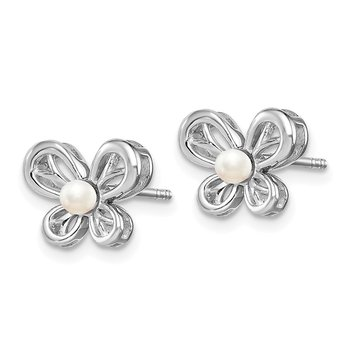 Sterling Silver Rhodium-plated FW Cultured Pearl Earrings
