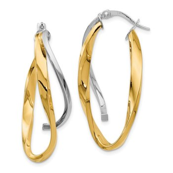 Leslie's 14k with Rhodium Polished Large Twisted Hoop Earrings