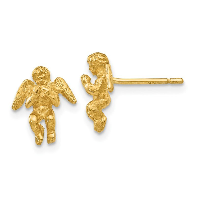 Quality Gold 14k Polished & Diamond-Cut Angel Earrings