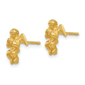 14k Polished & Diamond-Cut Angel Earrings
