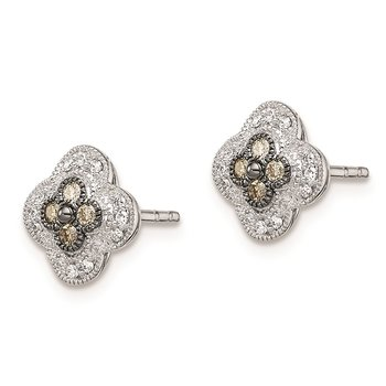 Sterling Silver Rhodium-plated Champagne Diamond Small Flower Post Earrings