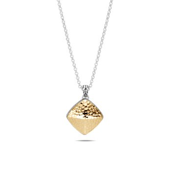 Classic Chain Large Sugarloaf Pendant, Silver, Hammered Gold