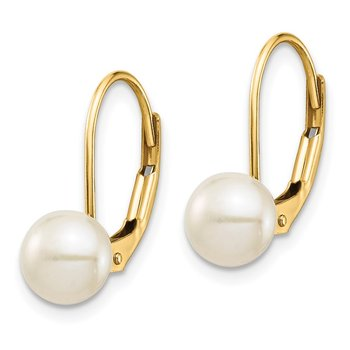 14K 6-7mm White Button Freshwater Cultured Pearl Leverback Earrings