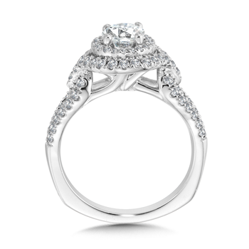 Double Halo Engagement Ring Mounting in 14K White Gold (.56 ct. tw.)