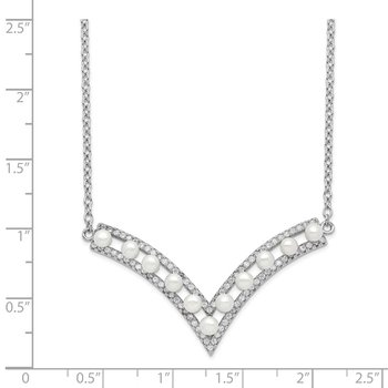 Sterling Silver Rhod-plat 3-3.5mm White Button FWC Pearl CZ Necklace