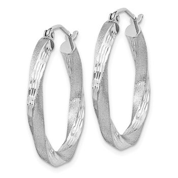 Sterling Silver RH-plated Satin D/C Twisted 3x25mm Hoop Earrings